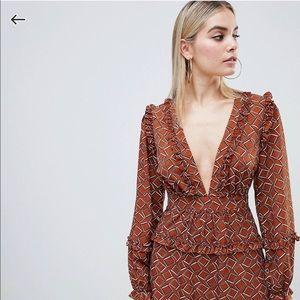 Pretty plunge skater dress in brown geo print